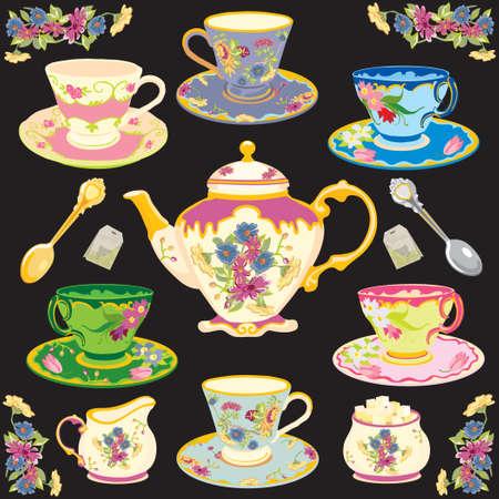 Fancy Victorian style tea set Vectores