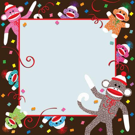 Mamma, papà e bambini calze colorate scimmie celebrare una festa di compleanno Archivio Fotografico - 10349177