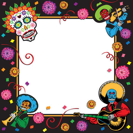 day of the dead: Day of the Dead Party Invitation Illustration