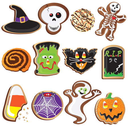 cute halloween: Cute Halloween Cookies Clipart Elements and Icons Illustration