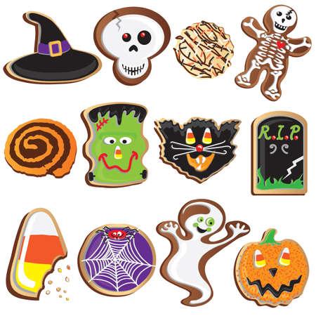 Iconos y elementos de im�genes predise�adas de Cookies de Halloween lindo Vectores