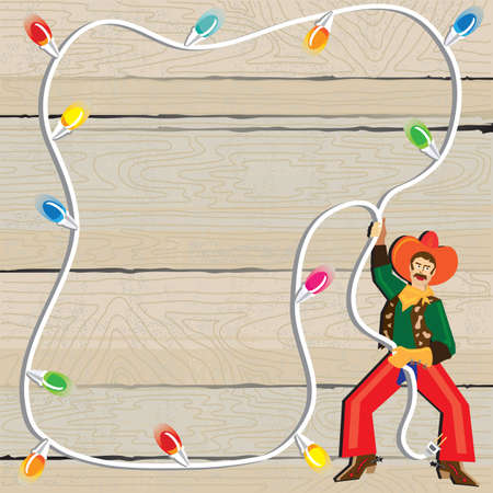 Cowboy with Christmas Lights Lasso against weathered wood Stock Vector - 10519892