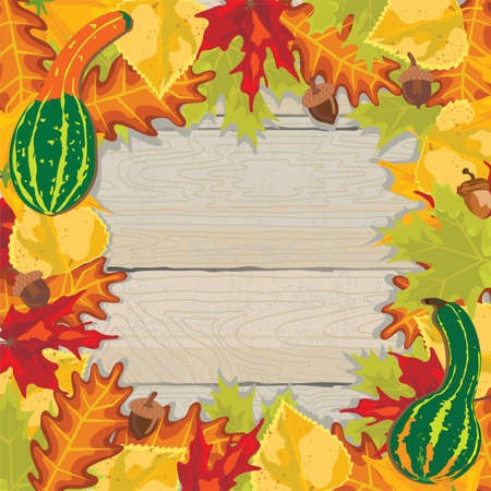 Autumn Leaves Frame against an old wood background Vector