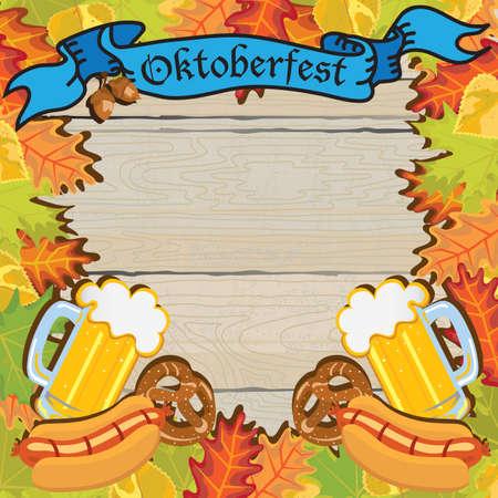 Oktober fest Partij Frame Uitnodiging Affiche Stock Illustratie