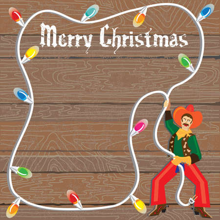 Cowboy with Christmas Lights Lasso against weathered wood Vector