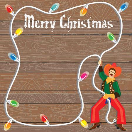 luces navidad: Vaquero con lazo de luces de Navidad contra madera desgastada