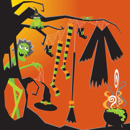 Crazy nude Witch gets ready for the party by hanging her clothes to dry Vector