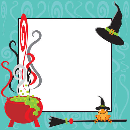 halloween party: Cute Halloween uitnodiging voor feest met borrelende ketel en ruimte voor uw kopie