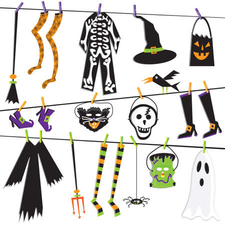 Halloween Costume Clothesline Clip Art Stock Vector - 10684822