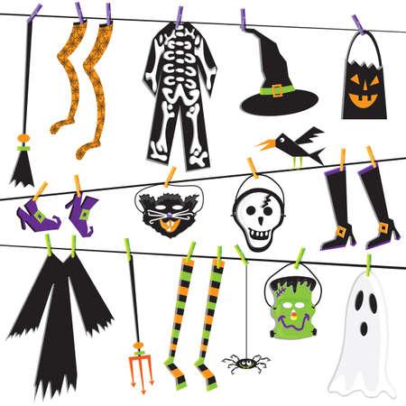Halloween Costume Clothesline Clip Art