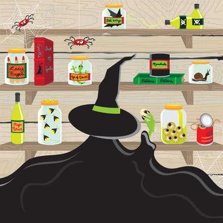 veneno frasco: La bruja en la cocina despensa con art�culos espeluznante Vectores