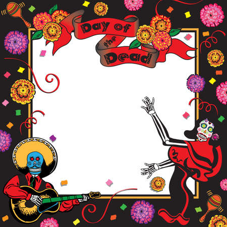 mariachi: Day of the Dead Party Invitation Illustration