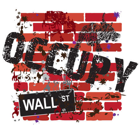 Occupy Wall Street Sign on a grungy brick wall