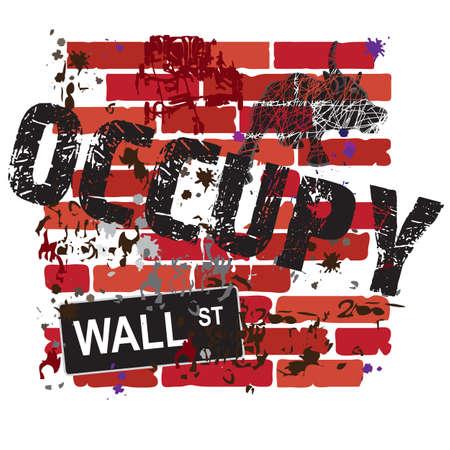 Ocupan de Wall Street Sign en una pared de ladrillos sucios