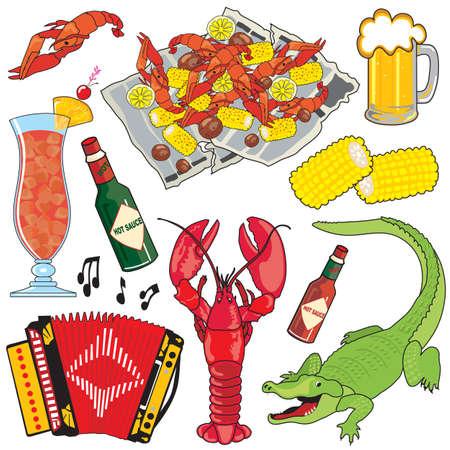 acordeón: Cajun comida, música y bebidas clipart iconos y elementos