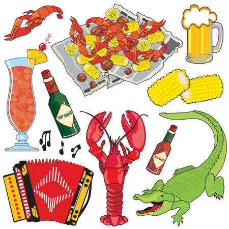 new orleans: Cajun Food, Music and drinks clipart icons and elements Illustration