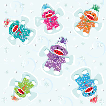 baby angel: Baby sock monkeys make snow angels  Illustration