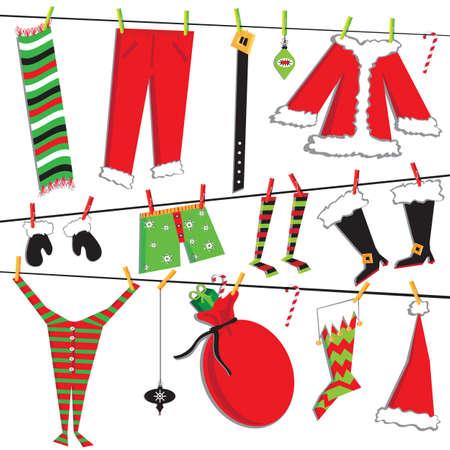 Weihnachtsmann Weihnachten Wäscheleine mit niedlichen Artikel Standard-Bild - 11006564