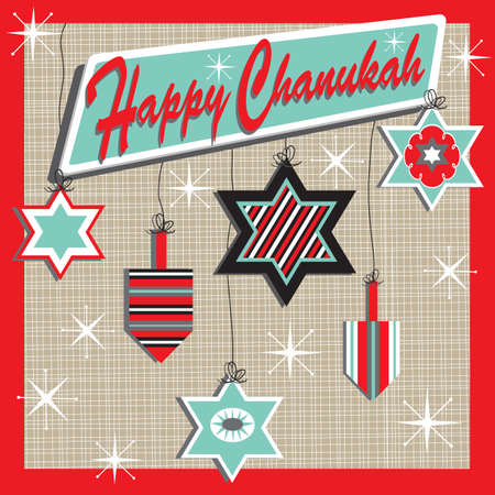dreidel: Retro inspired Chanukah Card with Jewish ornaments Illustration
