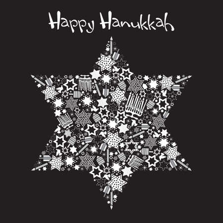 Happy Hanukkah Star of David with star made up of menorahs, dreidels and stars