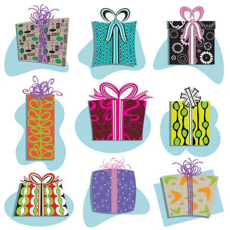 Cajas de regalos Retro iconos en los patrones de divertidas Foto de archivo - 11139539