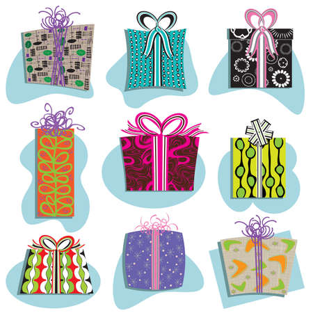 Retro Gift Boxes Icons in many fun patterns Vector