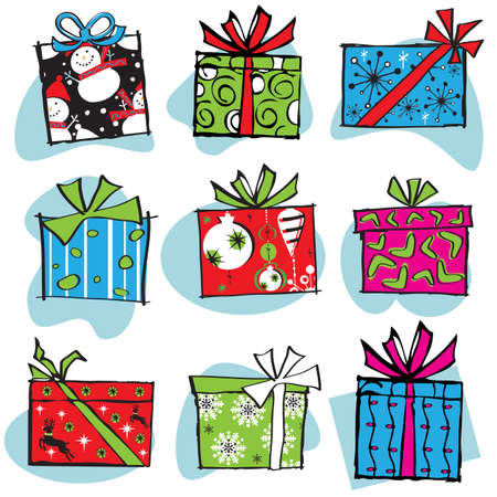 Fun and Funky Retro Christmas boxes Vector