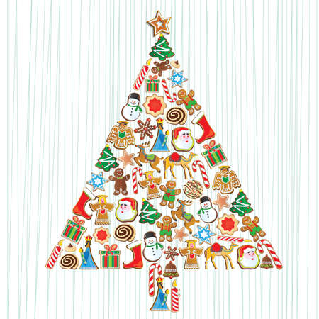 Cute Cookie Christmas Tree with cookie ornaments Vector