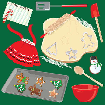 Making and Baking Christmas Cookies CLip Art Vector