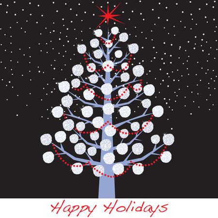 holiday: Snowball Christmas Holiday Tree Illustration