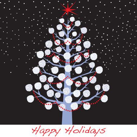 Snowball Christmas Holiday Tree Illustration