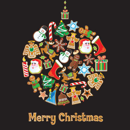 Cookie Christmas Ornament isolated on Black Vector