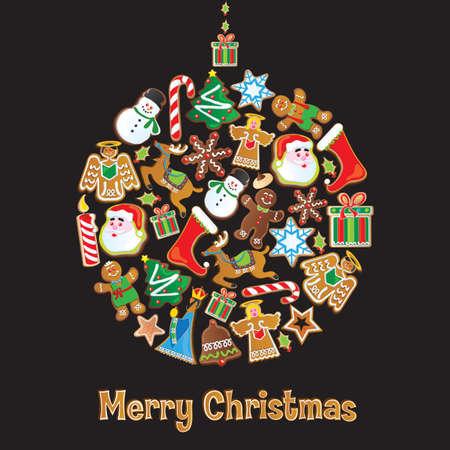 Cookie Ornament van Kerstmis geïsoleerd op zwart Stock Illustratie