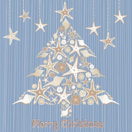 Tropical Seashell karty Christmas Tree