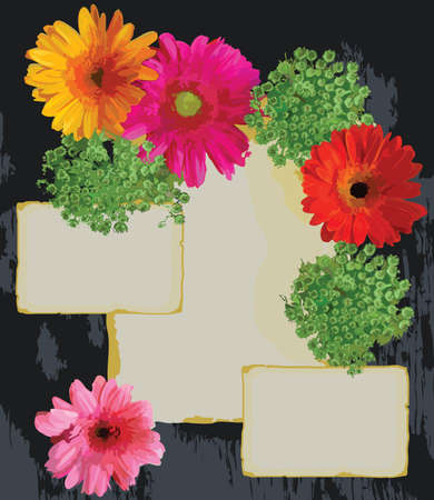 Bright Flowers and old paper on a wood background Vector
