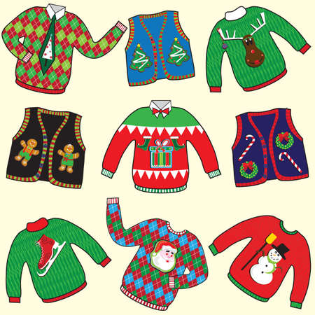 h�sslich: UGLY Weihnachten Pullover Party-Einladung Illustration