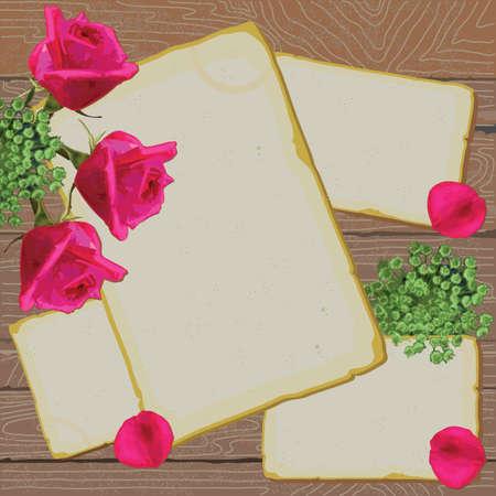 Vintage antiguas cartas y notas de rosas brillantes Foto de archivo - 11566721