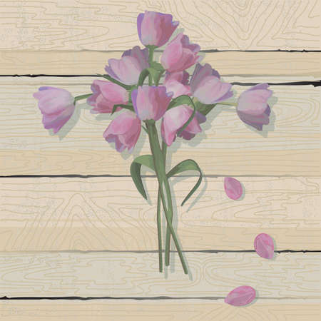 Tulip Easter Cross  on a weathered wood background Vector