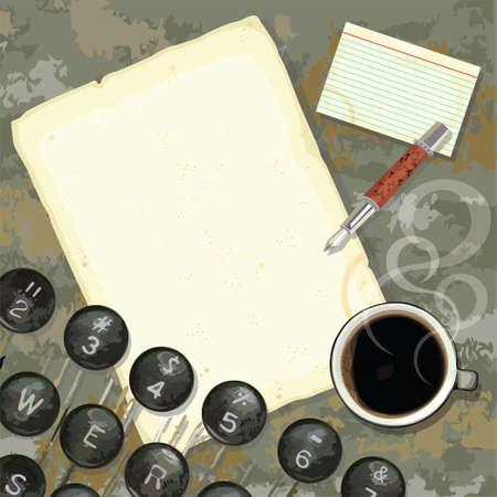 Grungy schrijvers bureau met gekleurd papier en notities, koffie, pen en typemachine Stock Illustratie