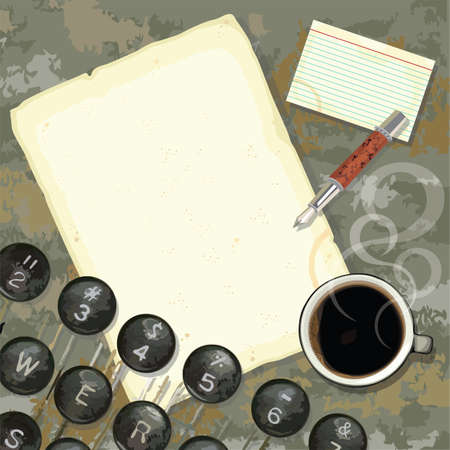 composing: Grungy writers desk with stained paper and notes, coffee, pen and typewriter