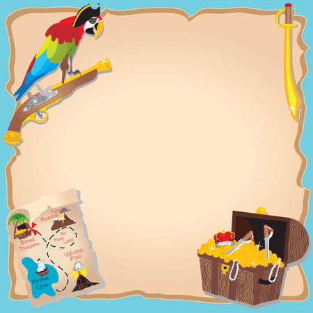 treasure map: Pirate Birthday Party  and treasure hunt Invitation with peg legged parrot, map and chest