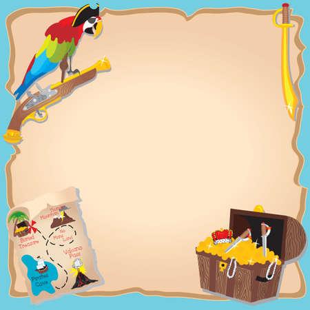 schatkaart: Pirate Birthday Party en schatzoeken Uitnodiging met PEG legged papegaai, kaart en op de borst Stock Illustratie
