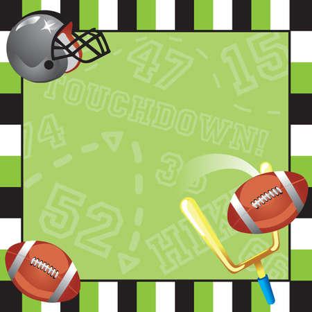 futbol infantil: Fútbol Partido tarjeta de invitación con marco decorativo