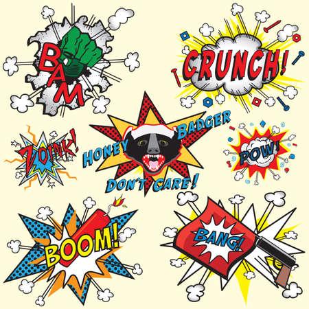 sayings: Grote selectie van Comic Book pictogrammen met Honey Badger, Bang Gun, dynamiet Boom, Hulk hand en anderen Stock Illustratie