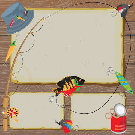 baits: Fishing Invitation on old worn paper & woodgrain background