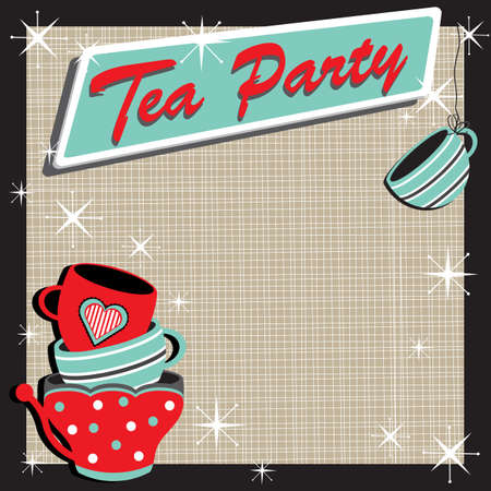 party: Stacked tea cups Tea Party Invitation in a retro style