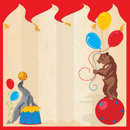 Performing Animals Circus Birthday Party Invitation Vector