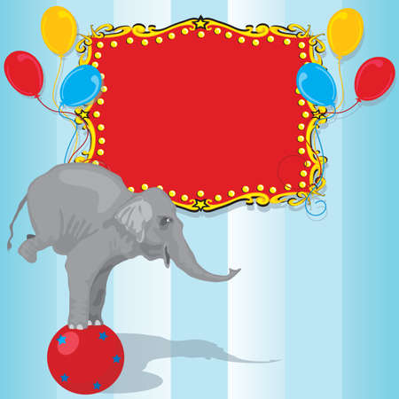 Circus Elephant Birthday Party Invitation Card  Illusztráció
