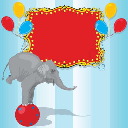 Circus Elephant Birthday Party Invitation Card  Vectores