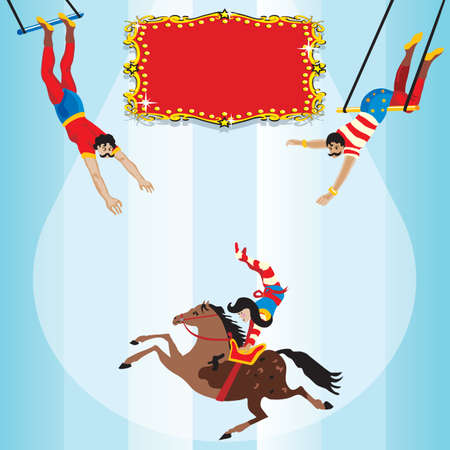 Circus Flying Trapeze Birthday Party Invitation Vector